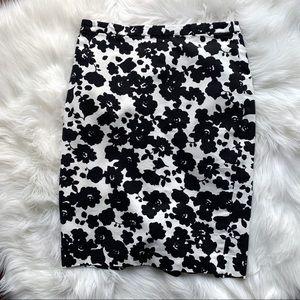 Ann Taylor Loft Black and White floral skirt